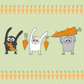 Rabbits with carrots vector design seamless pattern and Stock Photo