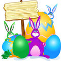 Rabbits, eggs and sign Royalty Free Stock Photos