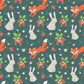 Rabbits and fox with seamless pattern cute wild strawberries forest Stock Photos