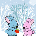 Rabbits in love winter card vector graphic image with funny walking park Royalty Free Stock Image