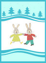 Rabbits on  the  New Year background Royalty Free Stock Images