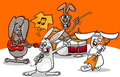 Rabbits rock music band cartoon Royalty Free Stock Photo