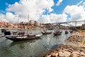 Rabelo boats in porto portugal Stock Images