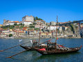 Rabelo boats and ribeira in porto traditional on douro river district portugal Stock Photography