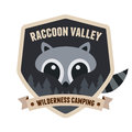 Raccoon badge outdoors emblem with character design Royalty Free Stock Photo