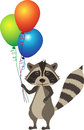 Raccoon with balloons cute cartoon holding colorful eps Royalty Free Stock Image