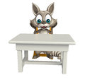 Raccoon cartoon character with table and chair Royalty Free Stock Photo