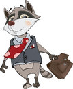 Raccoon office clerk cartoon the a in a jacket and with a portfolio Stock Photos