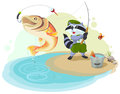 Raccoon scout fishing. Fisherman caught big fish Royalty Free Stock Photo