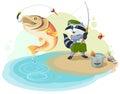 Raccoon scout fishing. Fisherman caught big fish Royalty Free Stock Photo