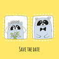 Raccoons groom and bride in hand-drawn style. The inscription save the date.