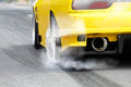 Race car burns tires for the race Royalty Free Stock Photo