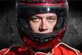 Race car driver wearing protective helmet Royalty Free Stock Photo