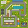 Race car sport track curve road vector. Top view of car sport competition constructor symbols. Circuit transportation