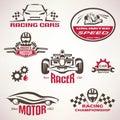 Race cars, racing emblem and label set