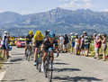 The race col de manse france july three cyclists richie porte front christopher froome yellow jersey and alberto contador behind Royalty Free Stock Images