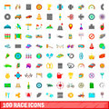100 race icons set, cartoon style