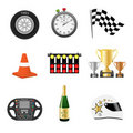 Race objects icons Stock Photos