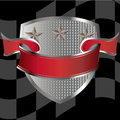 Race shield with red banner Stock Photography