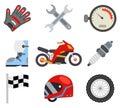 Race sport championship motocross motorbike vehicle icons set flat bike design vector illustration Royalty Free Stock Photo