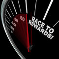 Race to rewards speedometer customer loyalty points program a red needle racing on a the words illustrate the accumulation of in a Stock Photo