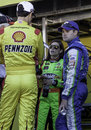 Racecar drivers joey logano danika patrick and ricky stenhouse talking before a race Royalty Free Stock Image