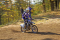 Racer in blue is riding motorcycle zabreh czech republic oct motocross at motocross zabreh cup on october zabreh czech republic Stock Photography
