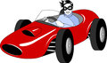 Racer in red retro formula car Royalty Free Stock Photography