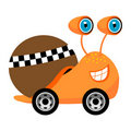 Racer snail cartoon Royalty Free Stock Photos