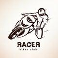 Racer, sport bike symbol Royalty Free Stock Photo