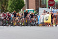 Racers atop chilkoot in stillwater criterium minnesota usa june cyclists race for lead at final stage of the north star grand prix Stock Photo