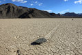 Racetrack playa the moving stones of in death valley california Royalty Free Stock Images