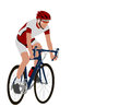 Racing bicyclist illustration with copy space Stock Photo