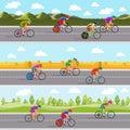 Racing bicyclists on bikes. Seamless panoramic Royalty Free Stock Photo
