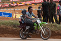 Racing bike kid in diyathalawa fox hill super cross event in srilanka april Royalty Free Stock Images