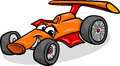 Racing car bolide cartoon illustration of funny vehicle or comic mascot character Stock Photography