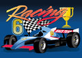 Racing car vector illustration of a race with trophy Royalty Free Stock Photos