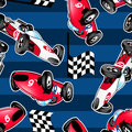 Racing cars with blue stripes in a seamless pattern Royalty Free Stock Images