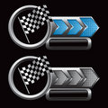 Racing checkered flag on blue and silver arrow ads Stock Images