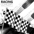 Racing concept flags tires and tracks grunge vector background Stock Photos