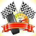 Racing concept speedometer with flags tire and ribbon vector illustration Stock Images