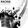 Racing concept tires and tracks grunge vector background Royalty Free Stock Photography