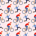 Racing cyclist in action seamless pattern vector illustration. Royalty Free Stock Photo