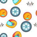 Racing elements pattern, cartoon style