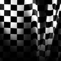 Racing flag black and white with some smooth folds in it Stock Image