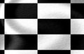 Racing flag black and white with some smooth folds in it Stock Photography