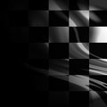 Racing flag black and white with some smooth folds in it Stock Images
