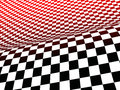 Racing flag d illustration of curved surface of chequered in black white and red Royalty Free Stock Photos