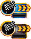 Racing flag on gold arrow nameplate banners Stock Image