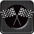 Racing flags black checkered web button Stock Photo